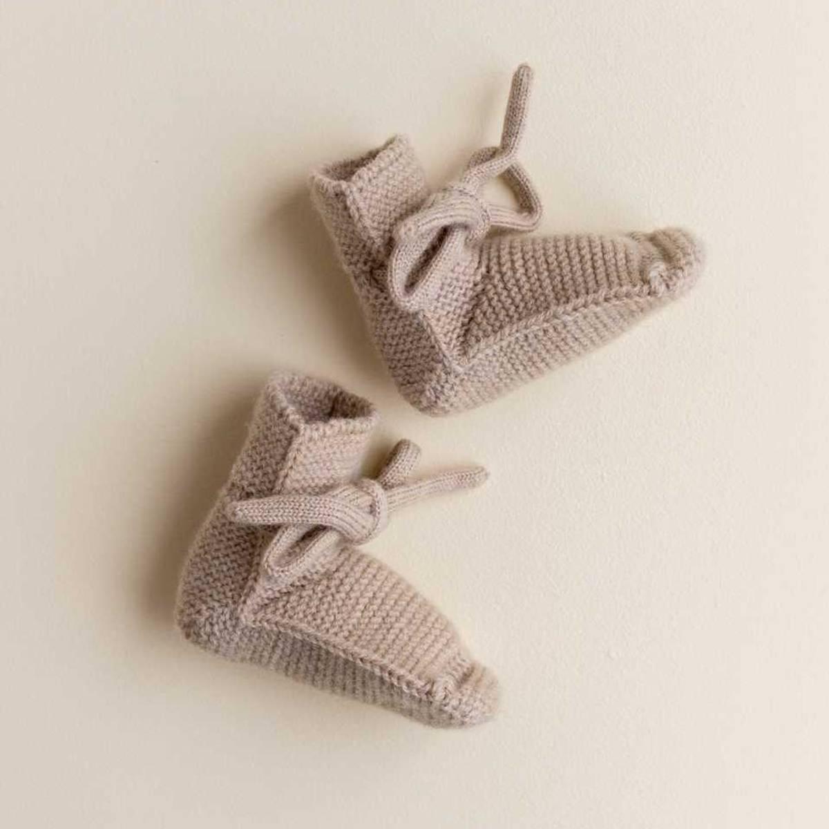 Babytøfler - Merinoull  - Hvid - Sand
